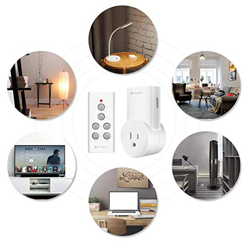 Etekcity Remote Control Outlet Wireless Light Switch for Household Appliances, Plug and Go, Up to 100 ft. Range, FCC ETL Listed, White (Learning code, 3Rx-1Tx) by Etekcity (Image #1)