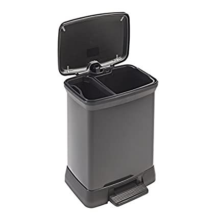 Curver Decobin Pedaal 30l.Curver 02165 929 00 Pedal Bin With Two Compartments 10 L 18 L Black Blackmetallic Metal Look Polypropylene