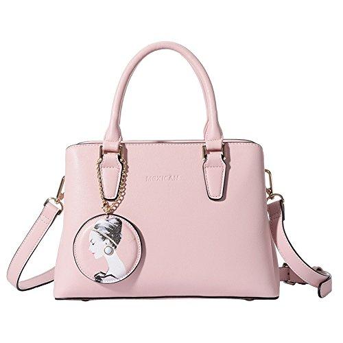 LEODIKA Bolsa De mujeres del hombro Nueva taleguilla, la moda europea y americana, bolso, bolso de la manera, bolso de compras Pink