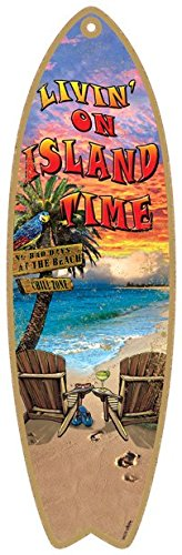 SJT96235-Livin-on-island-time-5-x-16-Surfboard-Wood-Plaque-featuring-the-artwork-of-Michael-Messina