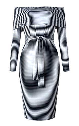 Angashion Womens Sexy Off Shoulder Long Sleeve Bodycon Midi Knit Cocktail Evening Sweater Dress with Belt Black White S