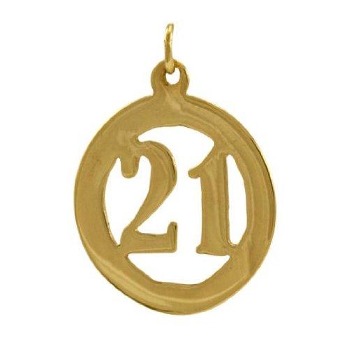 Charm Anniversaire 21ans en Or Jaune 9 Carats