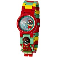 LEGO Batman Movie 8020868 Robin Kids Minifigure Link Buildable Watch | Red/Green | Plastic | 25mm Case Diameter| Analog Quartz | Boy Girl | Official