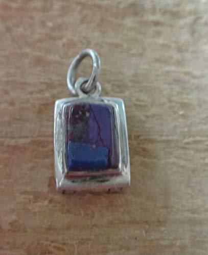 (Fine Charms 1 Sterling Silver 13x8mm Reversible Rectangular Purple Pendant)