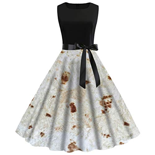 UMFunWomen Vintage 1950s Sleeveless Burrito Tortilla Printing Party Prom Swing Dress (L) ()