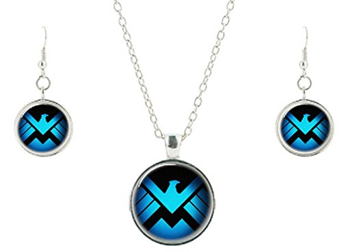 Marvel's Agents of Shield Glass Domed Pendant Necklace and Earring Set