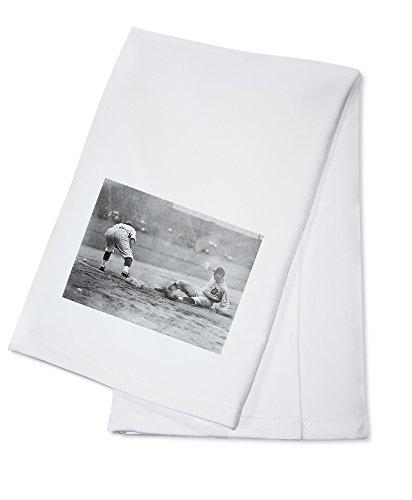 Detroit Tiger Playing Sliding into Third Base Baseball - Vintage Photograph (100% Cotton Kitchen Towel) ()