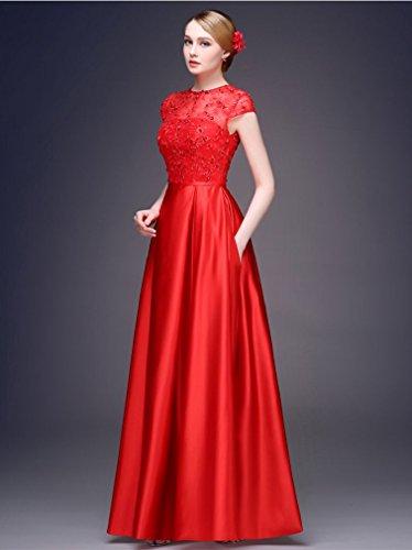 Kurzarm Abendkleider Emily mit Spitze A Linie Beauty Rückenfrei Gold Ansatz O FaA0qw