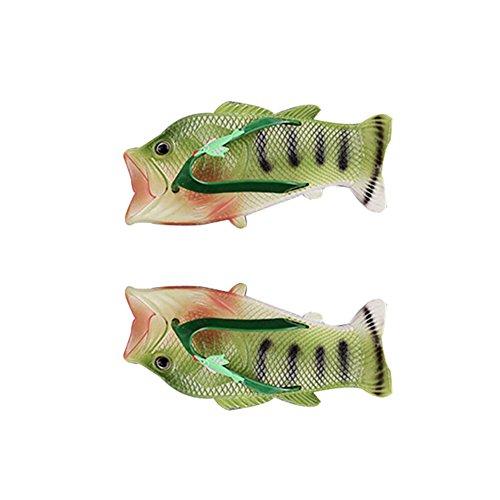 Poisson Dérapant Modélisation Anti Pantoufles Uniqstore Vert Mode Femmes PVC Creative Vert Tongs Drôle Pantoufles Plage Clip Toe XqgxIZw6nx
