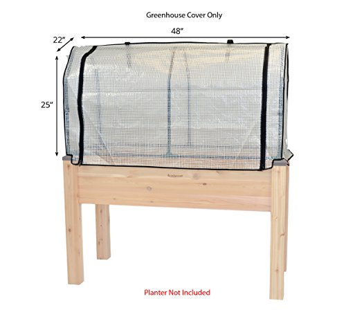 "Planter Cover (CedarCraft Greenhouse Cover 22 x 48 x 25""H – Protect your plants & extend your growing season. Model specific. Planter not included.)"