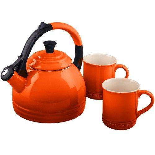Le Creuset Enamel-On-Steel Kettle and Mug Gift Set, Flame