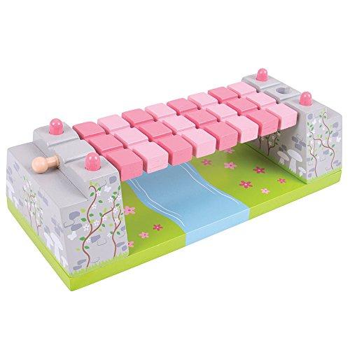 Bigjigs Rail Pink Fairy Rope Bridge for Wooden Train Set - Train Set Accessories -