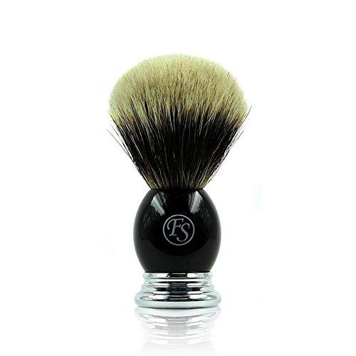 Brocha de Afeitar (pelo de tejón Finest Badger de Frank Shaving, de 2de banda de Busch, abundante nodos 23mm, mango de metal cromado y negro con logo de FS FI23-EB28