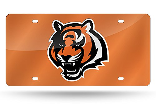 Cincinnati Bengals Metal - Rico NFL Cincinnati Bengals Laser Inlaid Metal License Plate Tag, Orange, 6