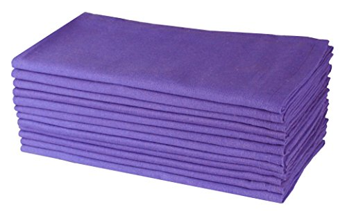 (Cotton Craft- Napkins, 12 Pack Oversized solid colored Dinner Napkins 20x20 Lavender, 100% Cotton, Tailored with Mitered corners and a generous hem, Napkins are 38% larger than standard size napkins)