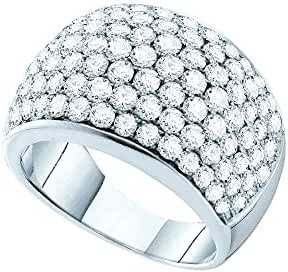 14kt White Gold Womens Round Pave-set Diamond Cocktail Ring 3.00 Cttw