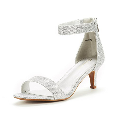 DREAM PAIRS Women's Fiona Silver Glitter Fashion Stilettos Open Toe Pump Heeled Sandals Size 10 B(M) US (Shoes Low Bridal Heeled)