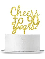 INNORU Cheers to 90 Years Cake Topper - 90th Birthday,Anniversary Cake Bunting Party Decoration Sign