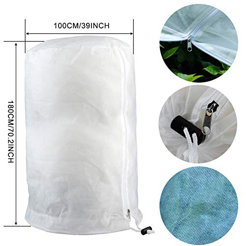 Firlar Plant Cover Freeze Protection Plant Protector Bag Frost Blanket for Plant Trees Shrubs-Reusable Shrub Covers Jacket with Zipper Drawstring,Frost Cover for Snow Cold Weather 1.77 oz/yd² 39X71in