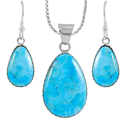Sterling Silver and Genuine Turquoise Necklace & Earrings Matching Set (Pear Shape)