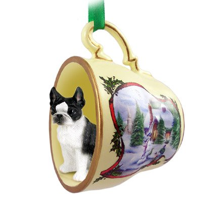 (Boston Terrier Christmas Ornament Holiday House Teacup)