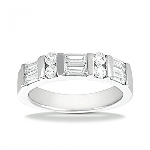 (1.04 ct. t.w. Wedding Band with Round and Straight Baguette Diamonds)