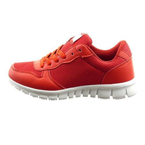 Sopily - Scarpe da Moda Sneaker bi-materiale alla caviglia donna Tacco a blocco 2.5 CM - Rosso