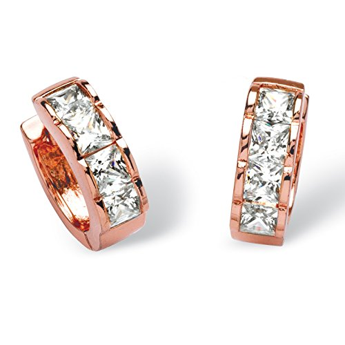 - Princess-Cut White Cubic Zirconia Rose Gold-Plated Huggie-Hoop Earrings