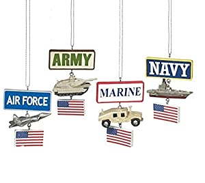 Military Ornaments, Set Of 4