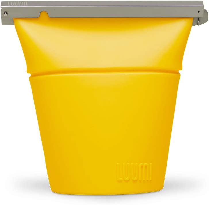 Luumi Unplastic Bowl - Reusable 100% Platinum Silicone Collapsible Food Storage Containers - Microwave, Oven, Freezer and Dishwasher Safe (Yellow)