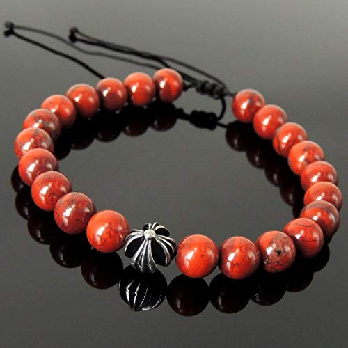 (Cross Bead Red Jasper Healing Gemstones Handmade Braided Bracelet for Men's Women's Casual Wear, Spiritual Guidance, Prayer with 8mm beads, Adjustable Drawstring, Genuine 925 Sterling Silver)