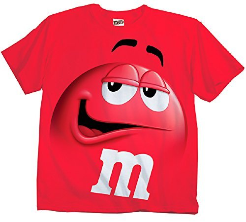 (M&M M&M's Candy Red Silly Character Face Adult T-Shirt (Adult)