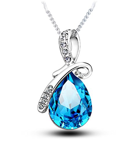 White Gold Plated Swarovski Crystal Elements Eternal Love Teardrop Pendant Necklace Fashion Jewelry for Women (Large ()