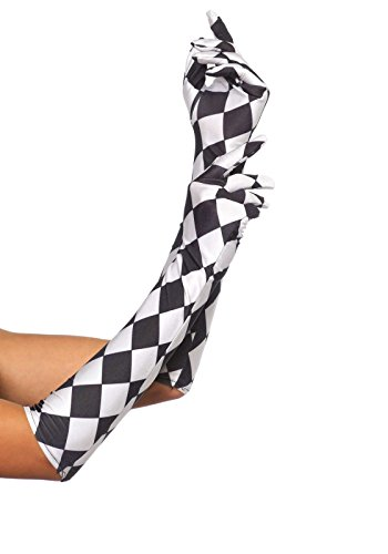 Leg Avenue Women's Harlequin Gloves, Black/White, One Size