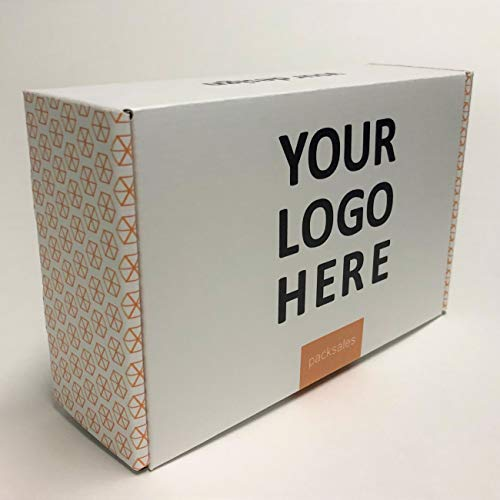 Custom Printed Cardboard 9 x 6 x 3 Mailer Boxes Printed on White Corrugated Paper (25 Pack) ()