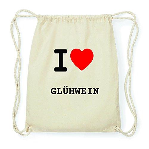 JOllify GLÜHWEIN Hipster Turnbeutel Tasche Rucksack aus Baumwolle - Farbe: natur Design: I love- Ich liebe 1Ovn3