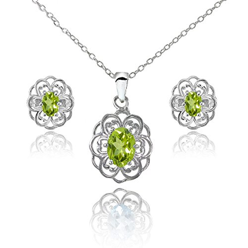 dot Oval Filigree Flower Pendant Necklace and Stud Earrings Set (Peridot Pendant Set)