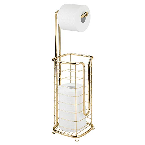 etal Free-Standing Toilet Paper Holder Stand and Dispenser, Dispenses 1 Roll and Stores 3 Spare Rolls Tissue - for Bathrooms/Powder Rooms - Holds Mega Rolls - Square, Soft Brass ()