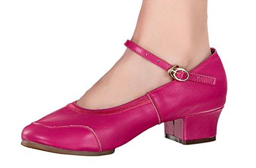 Shoes Jane Fuchsia Classic Mary Latin Cow Leather Salsa Women's Dance Honeystore 1U0wOqU