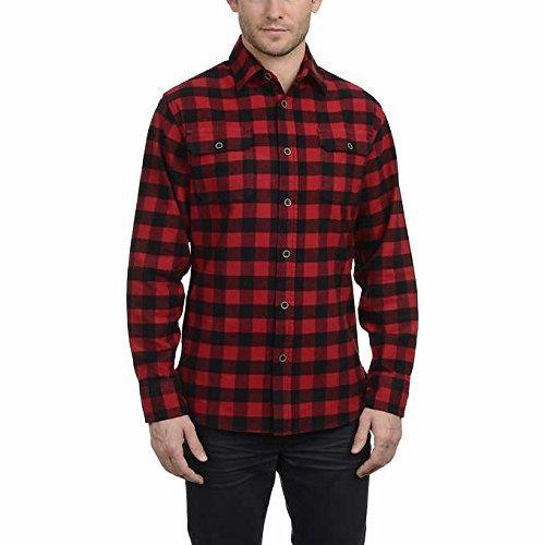 4c923815f2844d Jachs Men's Brawny Long Sleeve Flannel Shirt (Red Buffalo Check, Medium)