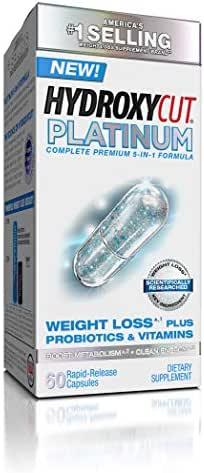 Hydroxycut Platinum Weight Loss Supplements Plus Active Probiotics & Vitamins, Boost Metabolism and Energy with Naturally Sourced Caffeine, 60 Pills