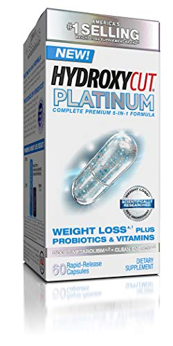 Hydroxycut Platinum Weight Loss Supplements Plus Active Probiotics & Vitamins, Boost Metabolism and Energy with Naturally Sourced Caffeine, 60 Pills (Lipo Cuts Time Release Metabolism Booster Reviews)