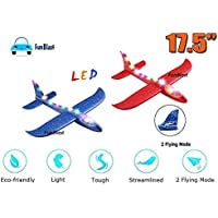 """FunBlast Airplane Toy (Pack of 2) - 17.5"""" Large Throwing Foam Plane, Dual Flight Mode, Aeroplane Gliders, Flying Aircraft, Gifts for Kids, 3 4 5 6 7 Year Old Boy