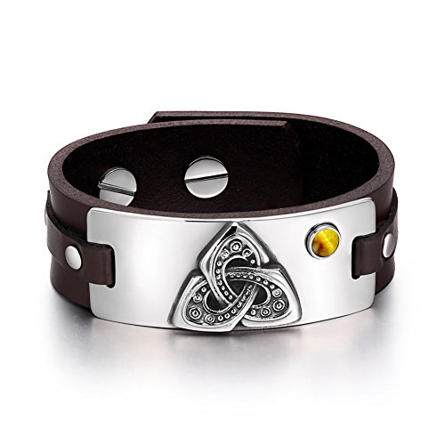 Celtic Triquetra Knot Magic Powers Amulet Tag Tiger Eye Gemstone Adjustable Dark Brown Leather Bracelet