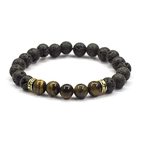 HUANSI Chakra Bead Bracelets Pressure Releasing Meditation Essential Oil Diffuser Lava Rock Natural Volcanic Stone Beads Aromatherapy Bracelet ()