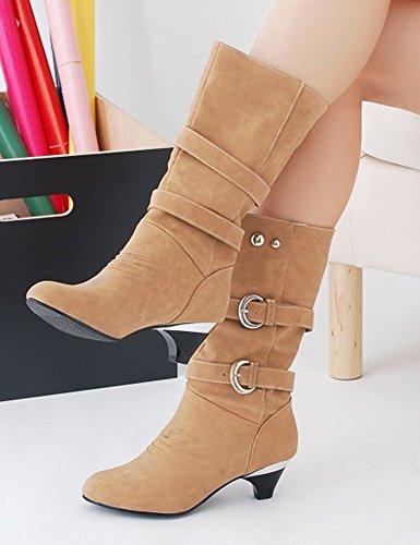 Aisun Femmes Élégant Cool Bout Rond Boucle Sangle Robe Chunky Moyen Talon Mi-mollet Bottes Chaussures Abricot