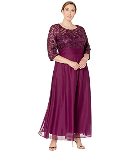 Alex Evenings Women's Plus Size Short V Neck Crepe Sheath Cocktail Dress, Bright Plum, 18W
