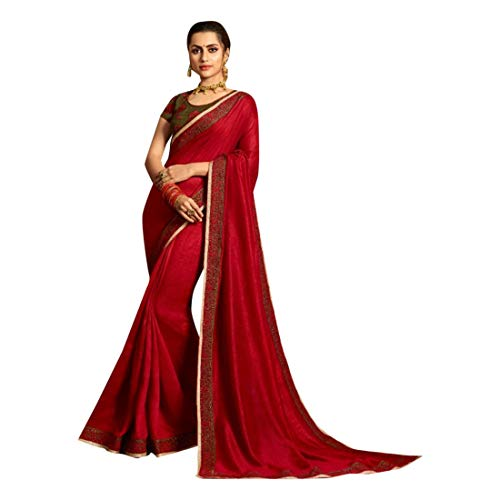 (Red Fancy Party wear Georgette Sari with Bangalore Silk Blouse Designer Indian Saree for Women 7614)