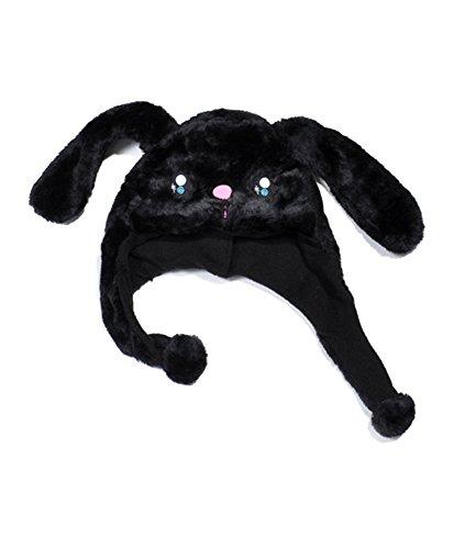 Plush Animal Winter Hat Black Bunny