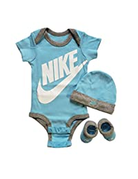 Nike 3 Piece Layette Set for Baby Boy's and Girl's, Bodysuit/Hat/Booties (0-6 Months, Light Aqua)